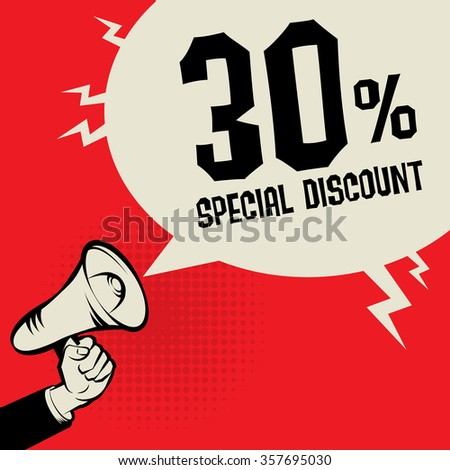 Megaphone Hand, business concept with text Special Discount, vector illustration - stock vector