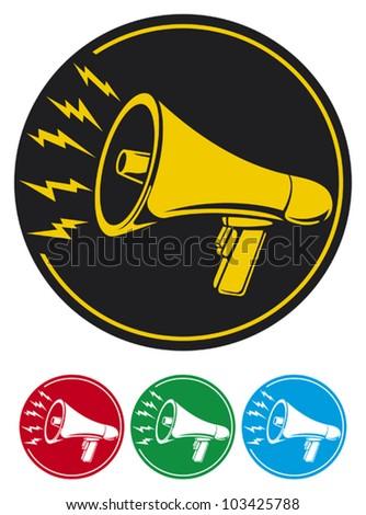 megaphone icon (bullhorn icon, megaphone button, megaphone symbol) - stock vector