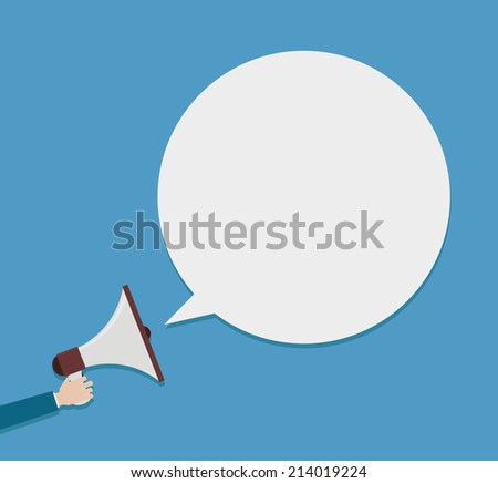 megaphone icon speaker with hand and speech bubble background - stock vector