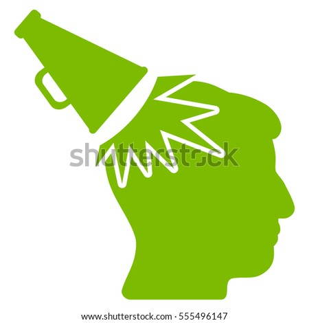 Megaphone Impact Head vector icon. Style is flat graphic symbol, eco green color, white background.