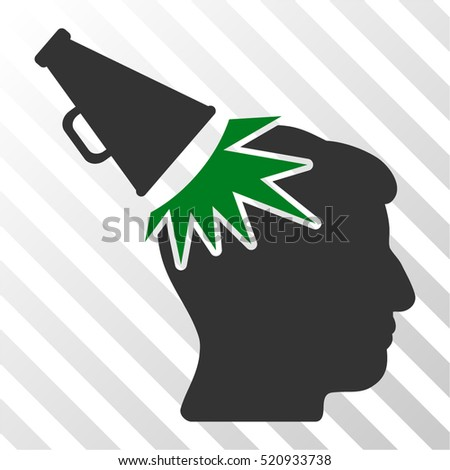 Megaphone Impact Head vector pictograph. Illustration style is flat iconic bicolor green and gray symbol on a hatched transparent background.