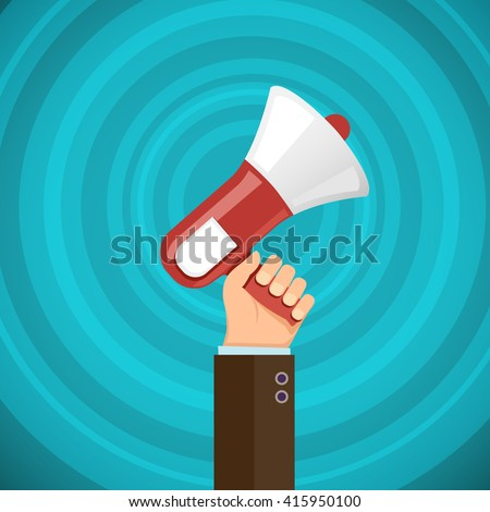 Megaphone in human hand with sound waves. Marketing and promotions. Democracy and elections. Stock vector illustration. - stock vector