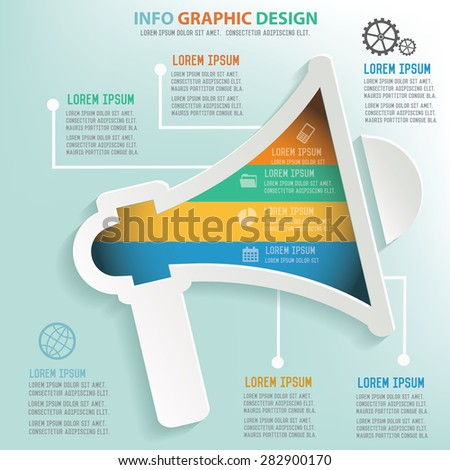 Megaphone info graphic design, Business concept design. Clean vector. - stock vector