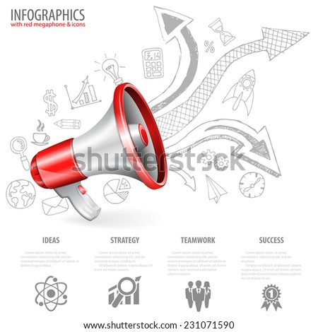 Megaphone isolated on white background with Arrows and Business Hand Drawn Icons. You can change the color in one click. Vector illustration. - stock vector