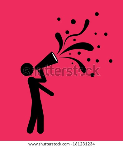 megaphone isolated over pink background. vector illustration - stock vector