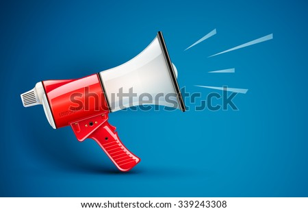 Megaphone loud-speaker for voice amplification. vector illustration. Transparent objects used for lights and shadows drawing. - stock vector