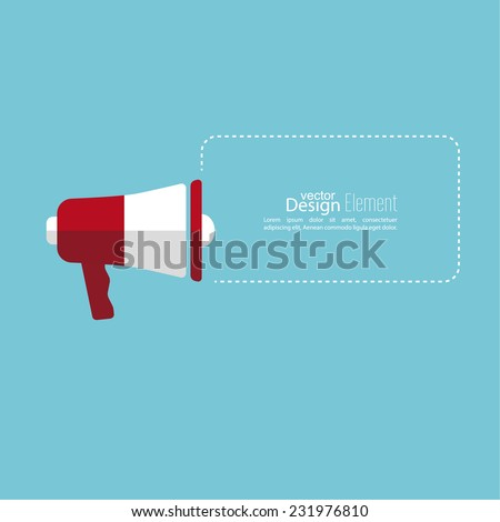Megaphone, loudspeaker with bubbles speech and copy space . for social media marketing concept. Notification through the speaker, advertisement bullhorn. - stock vector