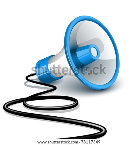 Megaphone on the ground with black wire - stock vector