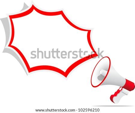 megaphone on white background - stock vector
