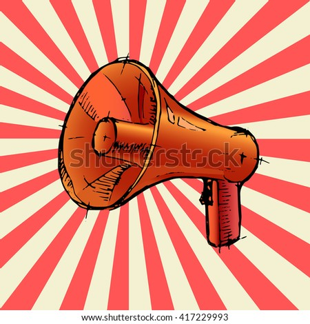 Megaphone or red loudspeaker. Colorful hand drawn vector stock illustration