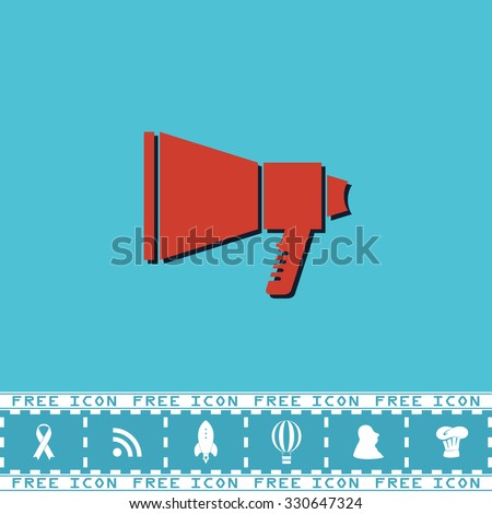 Megaphone. Red flat symbol with dark shadow and bonus icon. Simple vector illustration pictogram on blue background