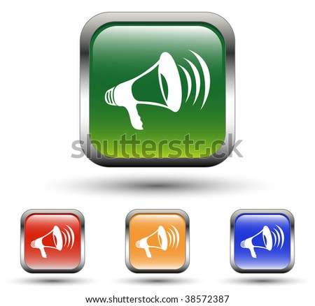 Megaphone Sign Square Icons - stock vector