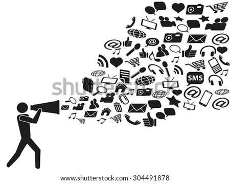 megaphone social media marketing - stock vector