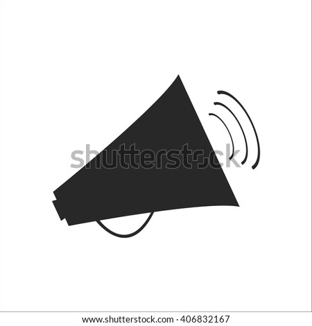 Megaphone speaker sign simple icon on background