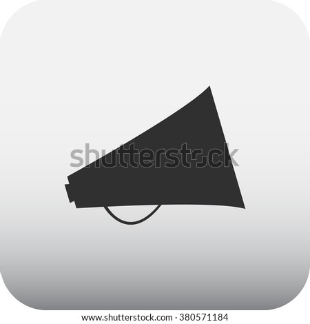 Megaphone speaker simple icon on grey background