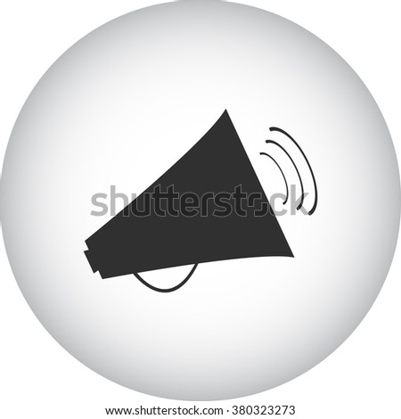 Megaphone speaker simple icon on round background