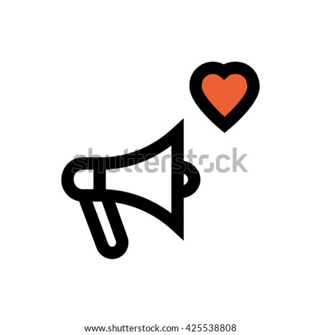 Megaphone, valentine's day, love line icon. Pixel perfect fully editable vector icon suitable for websites, info graphics and print media. - stock vector