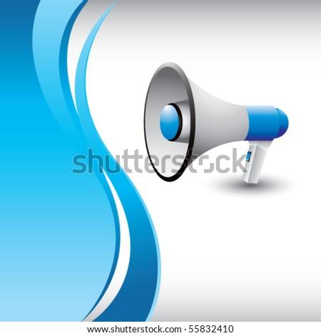 megaphone vertical blue wave - stock vector