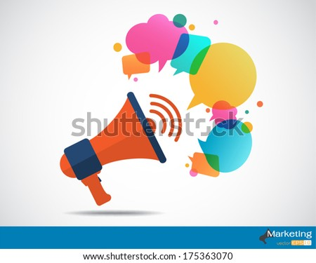 Megaphone with cloud of colorful speech bubble, Marketing concep - stock vector