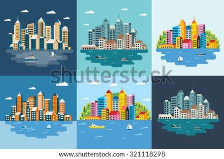 Megapolis landscape of the big city, metropolis, architecture, day and night, buildings, skyscrapers, skyline, vector illustration, flat design - stock vector