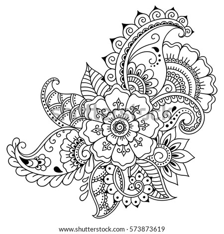 Mehndi Flower Pattern For Henna Drawing And Tattoo Decoration In Ethnic Oriental Indian Style