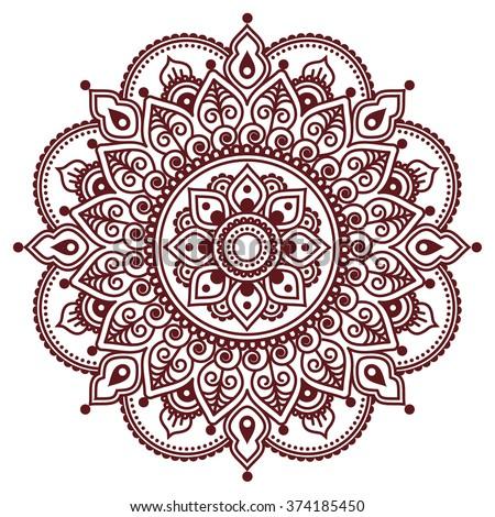 Mehndi Indian Henna Tattoo Pattern Background Stock Vector