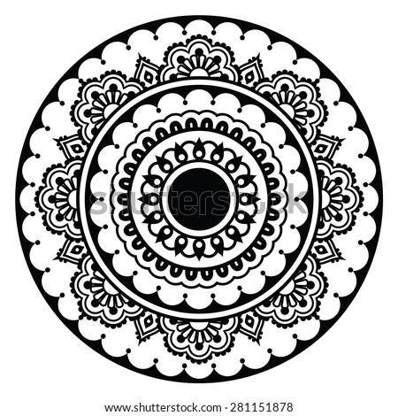 Mehndi, Indian Henna floral tattoo round pattern - stock vector