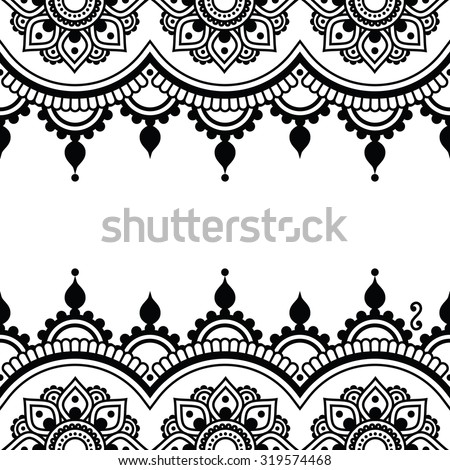 Mehndi, Indian Henna tattoo design - greetings card, lace ornament - stock vector
