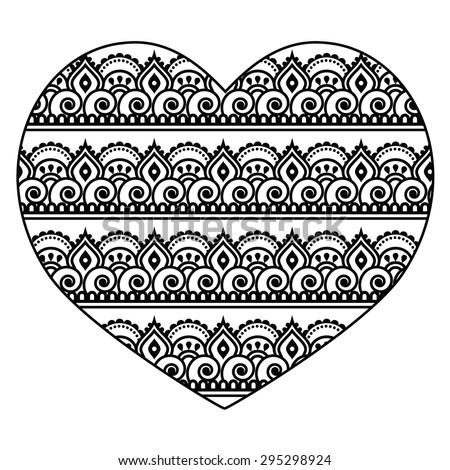 Mehndi, Indian Henna tattoo heart seamless pattern - stock vector