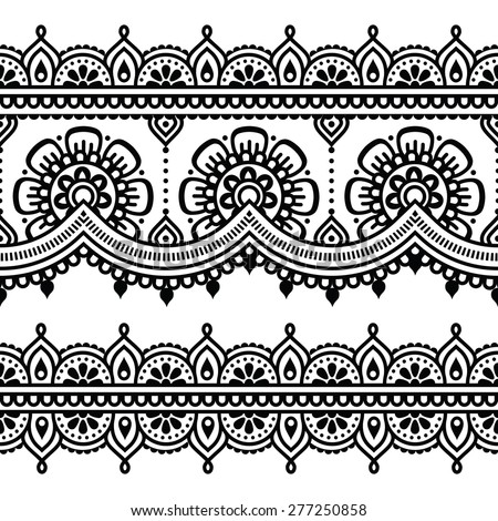 Mehndi, Indian Henna tattoo seamless pattern - stock vector