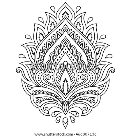 Mehndi lotus flower pattern henna drawing stock vector 2018 mehndi lotus flower pattern for henna drawing and tattoo decoration in ethnic oriental indian mightylinksfo