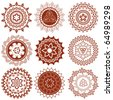 mehndi mandalas elements (henna tattoo designs) - stock vector
