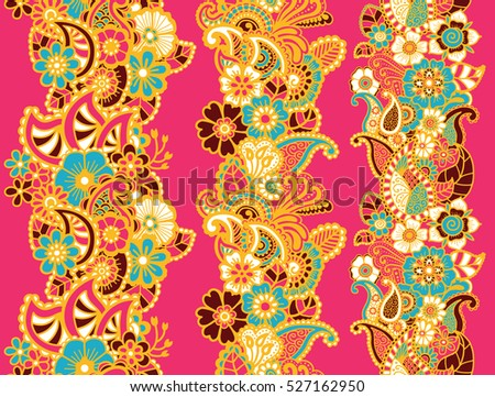 Mehndi ribbons. Paisley design. Collcstion of ornaments. Vector illustration.