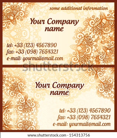 Mehndi style vintage vector business cards stock vector 154313756 mehndi style vintage vector business cards templates stopboris Images