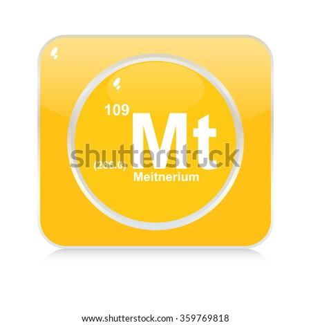 meitnerium chemical element button - stock vector