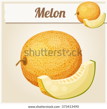 Melon. Cartoon vector icon. Series of food and drink and ingredients for cooking. - stock vector