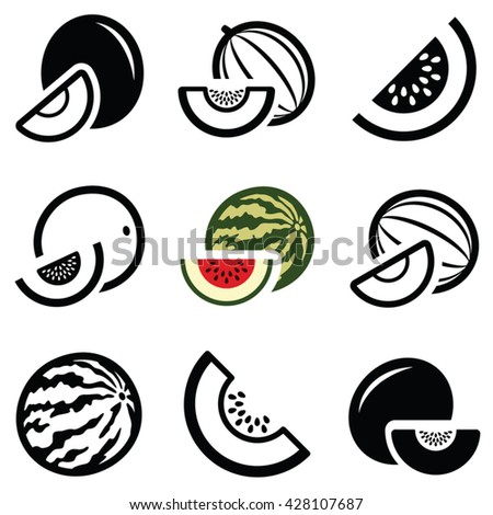 Melon icon collection - vector outline and silhouette
