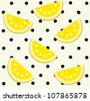 Melon slices on polka dot background. Seamless pattern. - stock vector