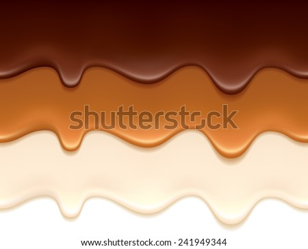 Melted chocolate, caramel and yogurt drips - seamless horizontal borders set. - stock vector