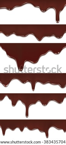 Melted chocolate dripping set on white background - stock vector