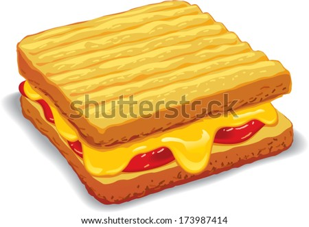 Melted yellow cheese toast vector illustration - stock vector