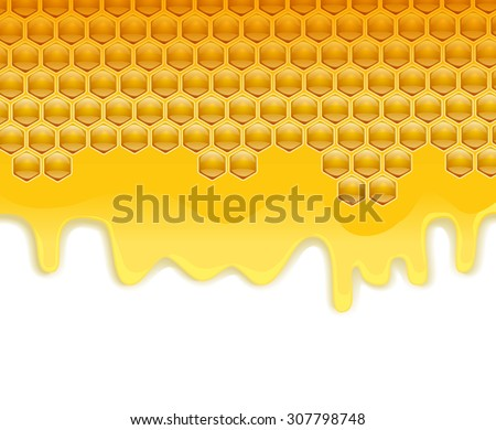 melting honey honeycombs background. vector illustration - stock vector