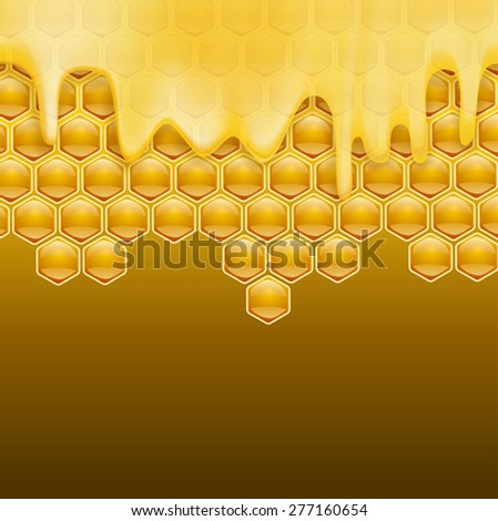 melting honey on honeycombs brown background - stock vector