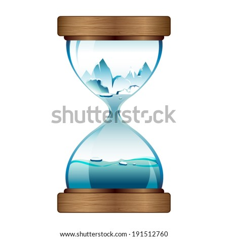 Melting ice in hourglass - stock vector