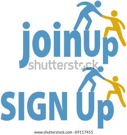 Member helps a person sign up to join a group company or website icons - stock vector