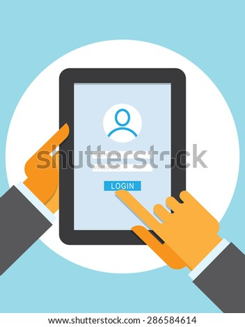 Member Login on the tablet computer. Computer security, Identifying and Authenticating. - stock vector