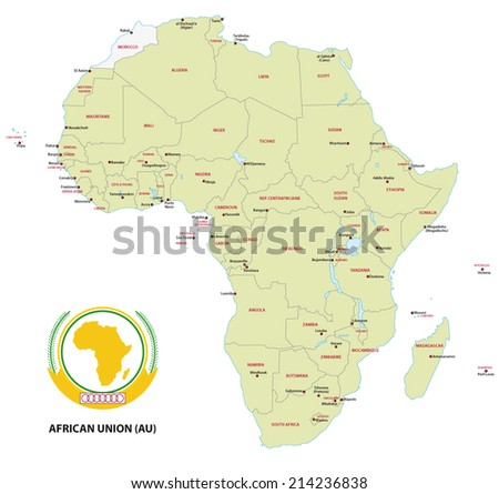 Member states of the African Union (AU) map - stock vector