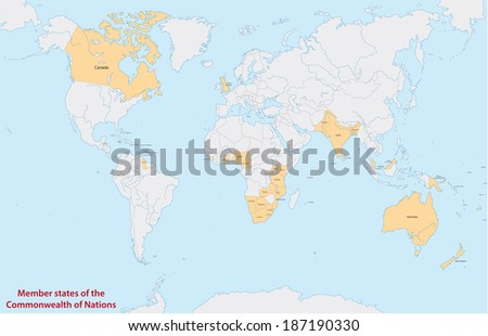 member states of the commonwealth of nations - stock vector