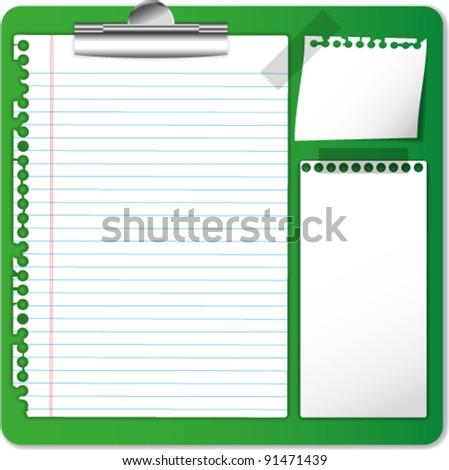 Memo and paper on clip board. - stock vector