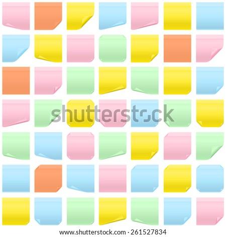 Memo paper seamless background multicolor - stock vector